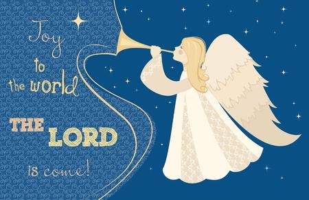Weihnachtskarte. Engel mit Pfeife in der Hand. Vektor-Illustration