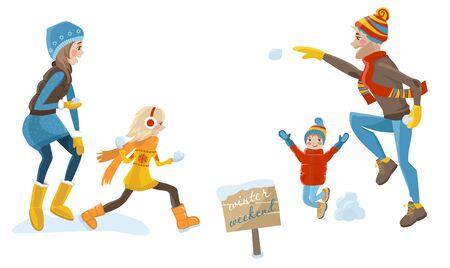 neve palle: genitori e bambini felici giocare a palle di neve fuori in inverno. fine settimana in famiglia. illustrazione di vettore