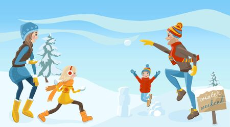 family outside: Happy parents and children play snowballs outside in winter. Family weekend. Vector illustration Illustration