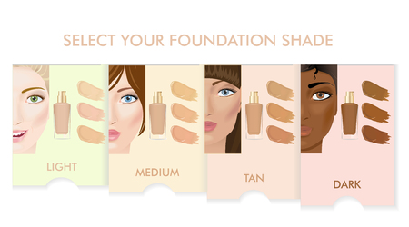 fair skin: Foundation cream shades. Infographic. Four woman faces and four skin types. Vector illustration. Illustration