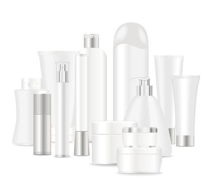 Group of cosmetic tubes isolated on white.  Place for your text. Vector
