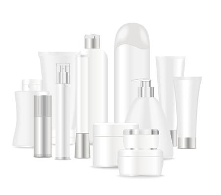 Gruppe von kosmetischen Rohre isoliert auf weiß. Platz für Ihren Text. Vektor Standard-Bild - 50842855