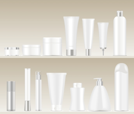 hair mask: White cosmetic tubes standing on shelves. Place for your text. Vector illustration
