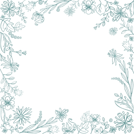 Floral hand drawn square frame. Flowers and leaves decorative border.