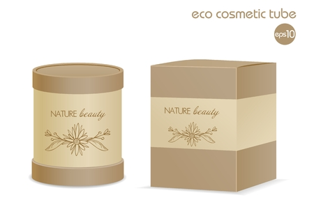 Natural paper cosmetic tube with package box isolated on white.