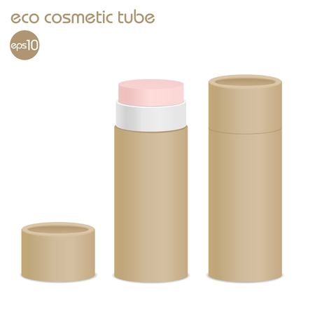lip gloss: Natural paper cosmetic tube isolated on white. Open lip balm package.