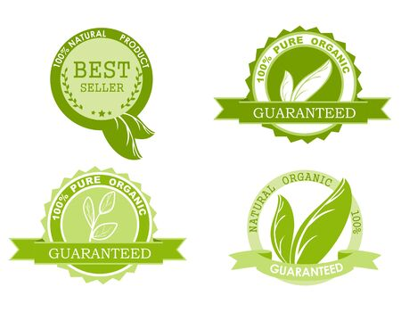 Four natural ingredients 100 percent organic product icons isolated on white. Green leaves. Stock Illustratie
