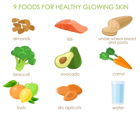 glowing skin: 9 foods for healthy glowing skin. Natural vitamines sources. Vector illustration