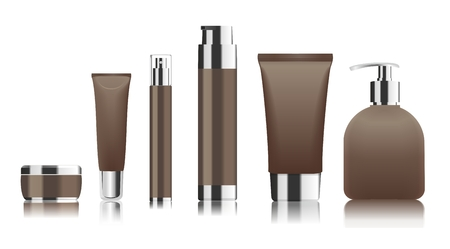 fragrance: Set of brown cosmetic tubes isolated on white.  Place for your text. Vector illustration Illustration