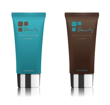 Two cosmetic tubes isolated on white. Brown and turquoise colors. Modern design. Place for your text. Vector illustration