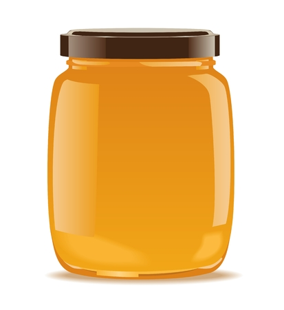 Detailed glass jar with honey or jam