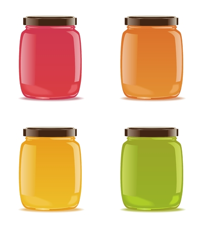 Four detailed glass jars with fruit or berry jam. Vector illustration