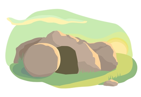 risen: Easter illustration of opened empty cave. Morning light. Vector
