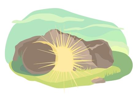 arose: Easter illustration of opened cave with light inside. Morning light. Vector