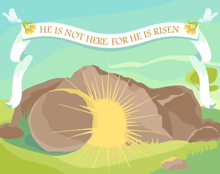 Easter illustration of opened cave with light inside. White ribbon with text: He is not here: for He is risen. Sunday morning. Vector