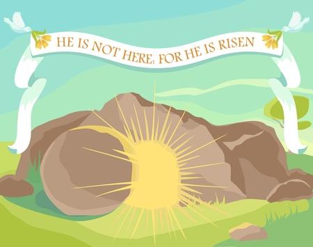 Pasen illustratie van geopende grot met licht binnen. Wit lint met de tekst: Hij is hier niet, want Hij is opgestaan. Zondagochtend. Vector