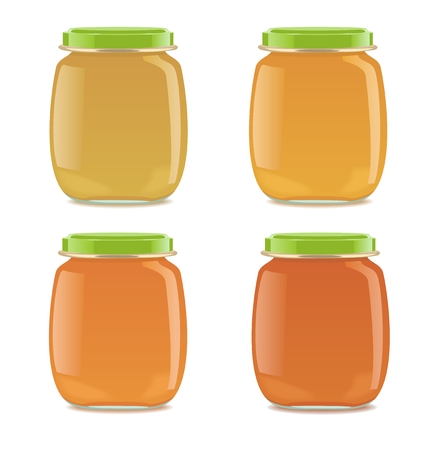Four detailed glass jars with baby puree. Vector illustration Stock Illustratie