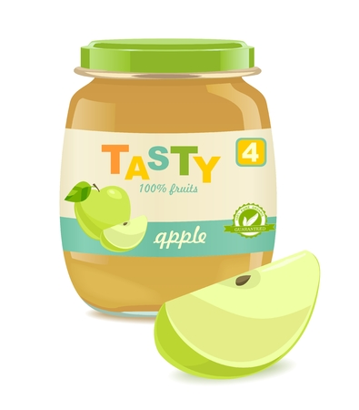Detailed glass jar with apple baby puree. Great modern design of label. Vector illustration Çizim