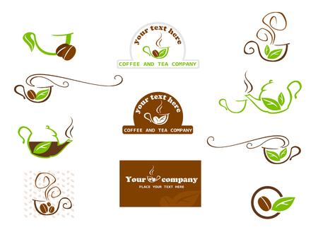 Coffee and tea labels. Flat design. Vector illustration Stock Illustratie