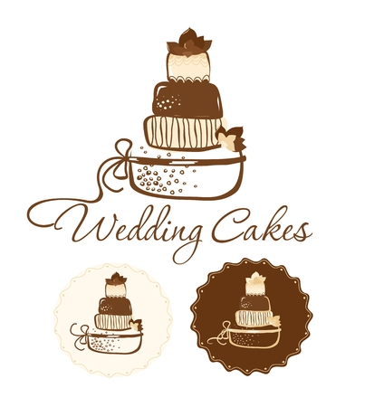chocolate cakes: Chocolate cakes. Can be used as label. Vector Illustration