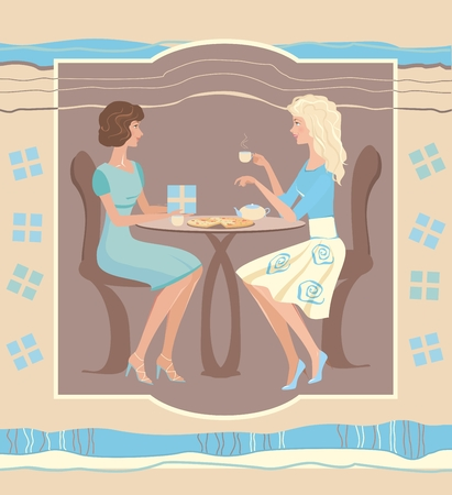 Girl giving present to another girl in cafe. Vector