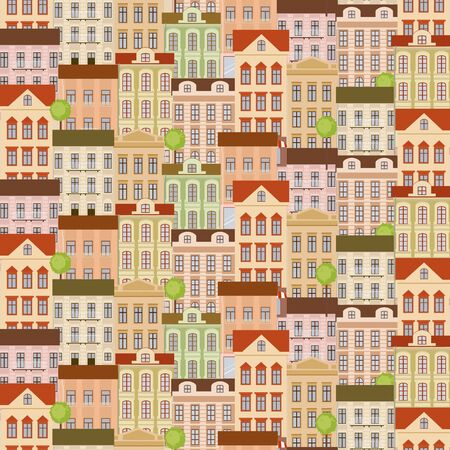 City seamless pattern with buildings. Retro style. Vector