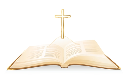 Opened Holy Bible with cross above it. Vector