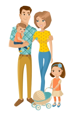 family fun: Smiling parents with daughter and son isolated on white. Father holding baby boy. Vector illustration. Illustration