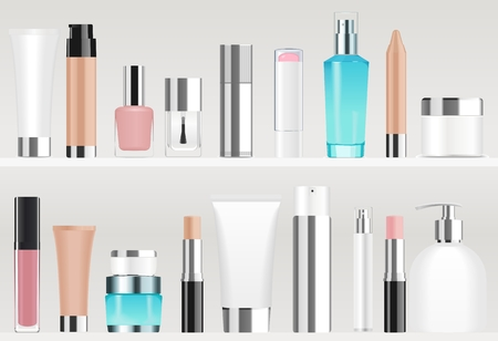 Colorful different cosmetic tubes and bottles standing on shelves. Vector illustration