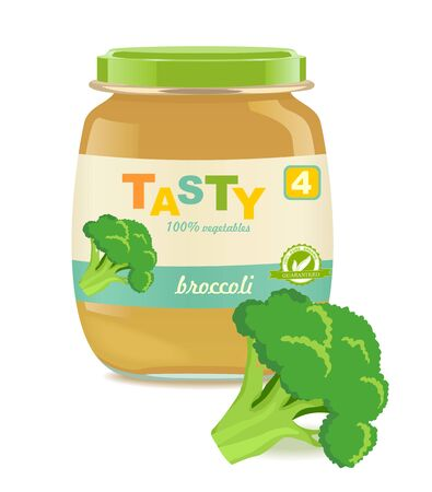 Detailed glass jar with broccoli baby puree. Great modern design of label. Vector illustration Stock Illustratie