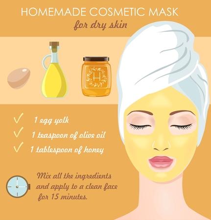 Homemade cosmetic mask for dry face skin. Egg yolk, olive oil and honey make your skin glowing. Vector illustration Stock Illustratie