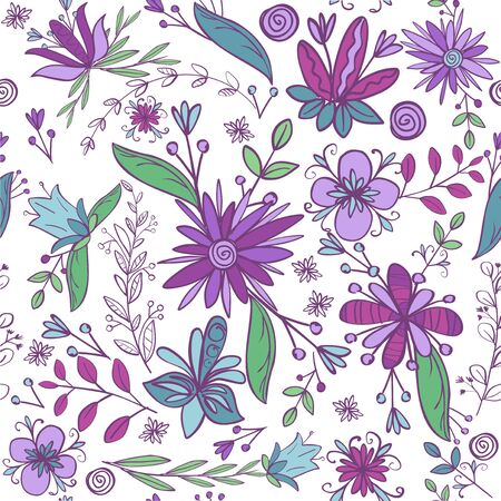 Detailed seamless floral pattern with different flower. Hand drawn doodle style. Vector illustration