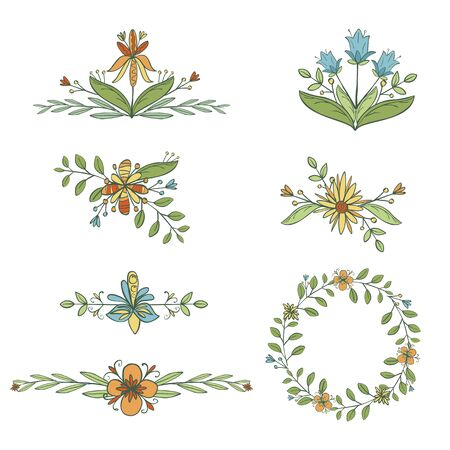 Hand drawn set of floral graphic design elements and border in vintage style. Flowers isolated on white.  Vector