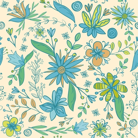 Detailed seamless flower pattern. Blue, turquois and green colors. Hand drawn doodle style. Vector illustration