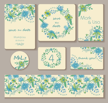 Wedding set. Wedding invitation, thank you card, save the date cards. Turquois, blue, green and light yellow colors. Stock Illustratie