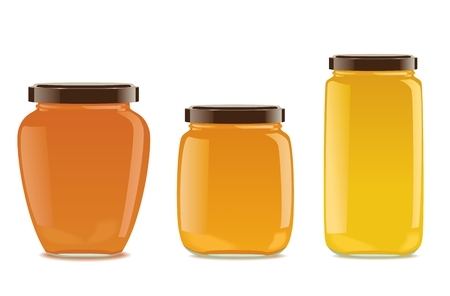 Three detailed glass jars with jam or honey. Different shapes