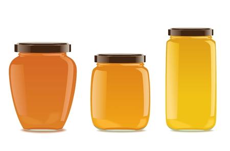 mermelada: Tres frascos de vidrio detalladas con mermelada o miel. Diferentes formas