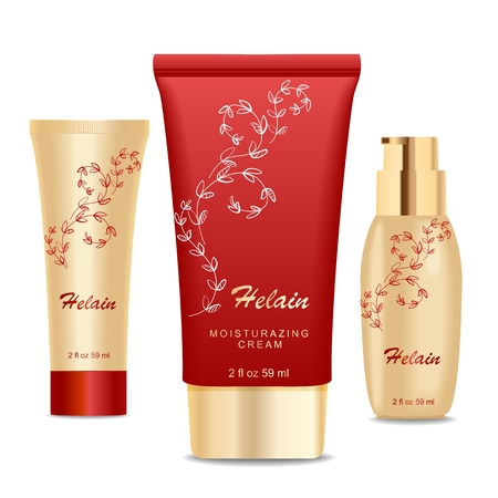 Three cosmetic tubes. Modern floral design. Golden and red colors.