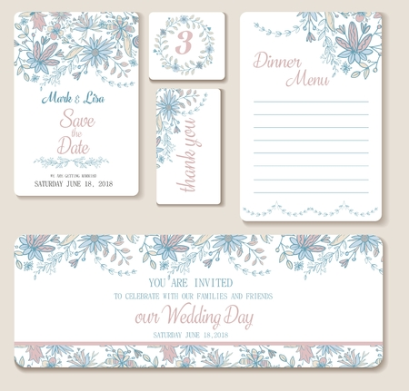 Wedding set. Wedding invitation, thank you card, save the date cards.  Light pastel colors.