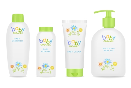 shampoo hair: Four colorful baby cosmetic tubes. Pretty kids design. White and green colors.