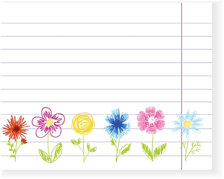 School card with hand drawn colorful flowers. Exercise book sheet. Children style. Place for your text. Stock Illustratie