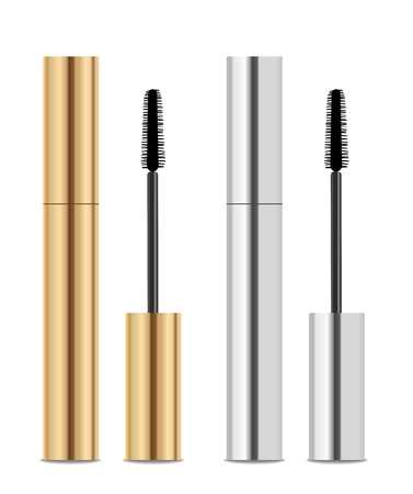Golden and silver lash mascara tubes with brush.
