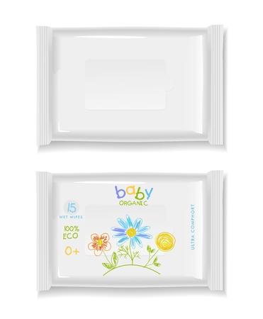 Two white wet wipes package isolated on white background. Blank package and baby design wet wipes.