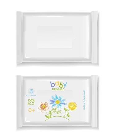 Twee witte natte doekjes pakket op een witte achtergrond. Blanco verpakking en babyontwerp natte doekjes. Stockfoto - 55629656