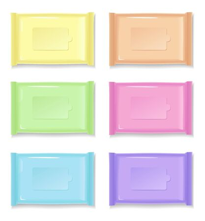 white blank: Set of color wet wipes package isolated on white background. Ready for your design. Illustration