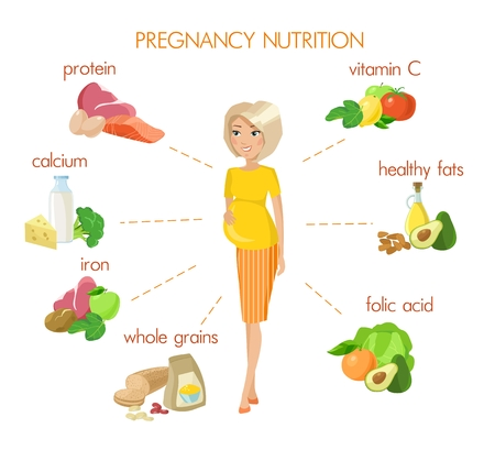 Pregnancy nutrition infographic with pregnant woman and food. Vitamins and minerals for healthy nutrition. Healthy food. Illustration