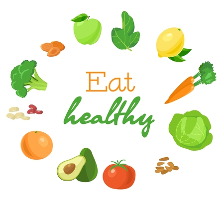 Group of healthy vegetarian products in the circle. Colorful bright illustration. Eat healthy.