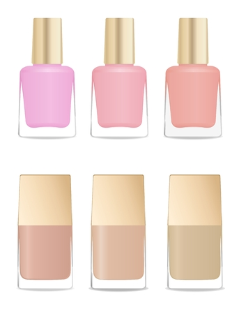 nail varnish: Set of glass nail polish bottles. Different colors and shapes.