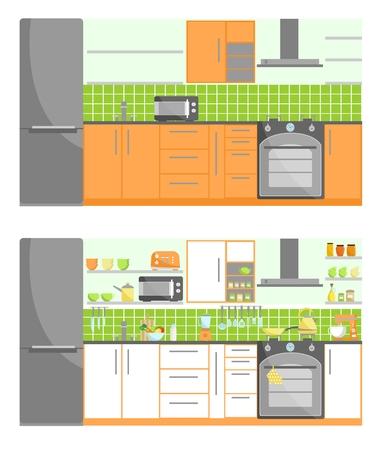 Kitchen detailed furniture. Kitchen utensils. Green, orange and grey colors. Modern design. Vector illustration Stock Illustratie