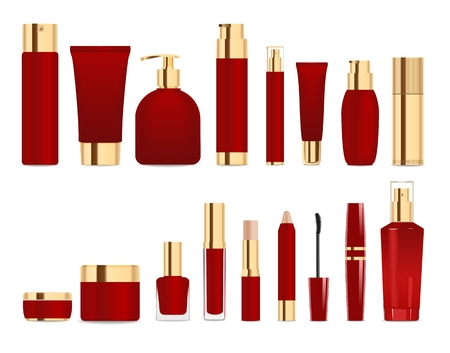 Set of cosmetic tubes isolated on white. Gold and dark red colors. Place for your textVector Ilustrace